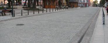 Nawierzchnia wykonana z kostki granitowej szarej